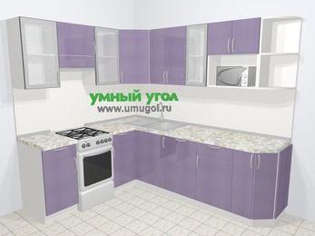 Кухни пластиковые угловые в современном стиле 6,6 м², 190 на 240 см, Сиреневый глянец, верхние модули 72 см, посудомоечная машина, модуль под свч, отдельно стоящая плита