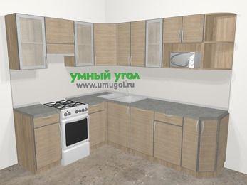 Кухни пластиковые угловые в стиле лофт 6,6 м², 190 на 240 см, Чибли бежевый, верхние модули 72 см, посудомоечная машина, модуль под свч, отдельно стоящая плита