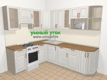 Угловая кухня МДФ патина в классическом стиле 6,6 м², 190 на 240 см, Лиственница белая, верхние модули 72 см, посудомоечная машина, модуль под свч, отдельно стоящая плита