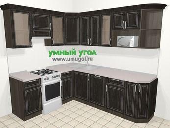 Угловая кухня МДФ патина в классическом стиле 6,6 м², 190 на 240 см, Венге, верхние модули 72 см, посудомоечная машина, модуль под свч, отдельно стоящая плита