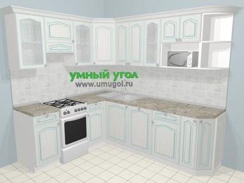 Угловая кухня МДФ патина в стиле прованс 6,6 м², 190 на 240 см, Лиственница белая, верхние модули 72 см, посудомоечная машина, модуль под свч, отдельно стоящая плита