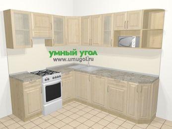 Угловая кухня из массива дерева в классическом стиле 6,6 м², 190 на 240 см, Светло-коричневые оттенки, верхние модули 72 см, посудомоечная машина, модуль под свч, отдельно стоящая плита