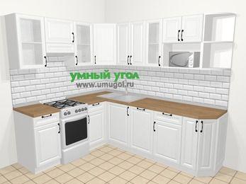Угловая кухня из массива дерева в скандинавском стиле 6,6 м², 190 на 240 см, Белые оттенки, верхние модули 72 см, посудомоечная машина, модуль под свч, отдельно стоящая плита