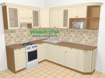 Угловая кухня из массива дерева в стиле кантри 6,6 м², 190 на 240 см, Бежевые оттенки, верхние модули 72 см, посудомоечная машина, модуль под свч, отдельно стоящая плита