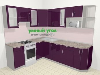 Угловая кухня МДФ глянец в современном стиле 6,6 м², 190 на 240 см, Баклажан, верхние модули 72 см, посудомоечная машина, модуль под свч, отдельно стоящая плита