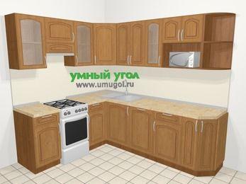 Угловая кухня МДФ патина в классическом стиле 6,6 м², 190 на 240 см, Ольха, верхние модули 72 см, посудомоечная машина, модуль под свч, отдельно стоящая плита