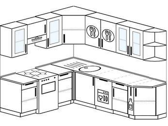 Угловая кухня 6,6 м² (1,9✕2,4 м), верхние модули 72 см, посудомоечная машина, отдельно стоящая плита