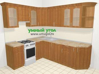 Угловая кухня МДФ матовый в классическом стиле 6,6 м², 190 на 240 см, Вишня, верхние модули 72 см, посудомоечная машина, отдельно стоящая плита