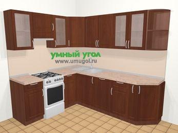 Угловая кухня МДФ матовый в классическом стиле 6,6 м², 190 на 240 см, Вишня темная, верхние модули 72 см, посудомоечная машина, отдельно стоящая плита