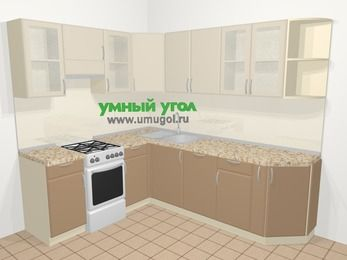 Угловая кухня МДФ матовый в современном стиле 6,6 м², 190 на 240 см, Керамик / Кофе, верхние модули 72 см, посудомоечная машина, отдельно стоящая плита