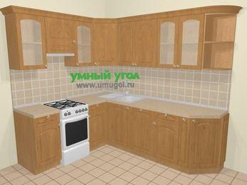Угловая кухня МДФ матовый в стиле кантри 6,6 м², 190 на 240 см, Ольха, верхние модули 72 см, посудомоечная машина, отдельно стоящая плита