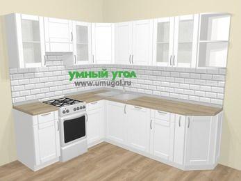 Угловая кухня МДФ матовый  в скандинавском стиле 6,6 м², 190 на 240 см, Белый, верхние модули 72 см, посудомоечная машина, отдельно стоящая плита