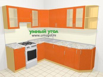 Угловая кухня МДФ металлик в современном стиле 6,6 м², 190 на 240 см, Оранжевый металлик, верхние модули 72 см, посудомоечная машина, отдельно стоящая плита