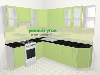 Угловая кухня МДФ металлик в современном стиле 6,6 м², 190 на 240 см, Салатовый металлик, верхние модули 72 см, посудомоечная машина, отдельно стоящая плита
