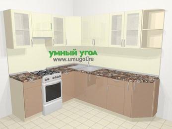 Угловая кухня МДФ глянец в современном стиле 6,6 м², 190 на 240 см, Жасмин / Капучино, верхние модули 72 см, посудомоечная машина, отдельно стоящая плита