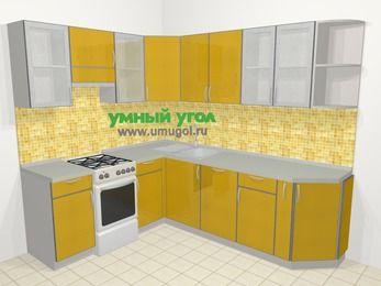 Кухни пластиковые угловые в современном стиле 6,6 м², 190 на 240 см, Желтый глянец, верхние модули 72 см, посудомоечная машина, отдельно стоящая плита