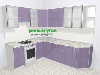 Кухни пластиковые угловые в современном стиле 6,6 м², 190 на 240 см, Сиреневый глянец, верхние модули 72 см, посудомоечная машина, отдельно стоящая плита