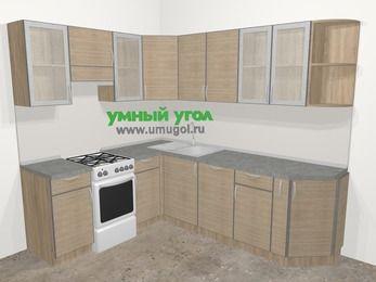 Кухни пластиковые угловые в стиле лофт 6,6 м², 190 на 240 см, Чибли бежевый, верхние модули 72 см, посудомоечная машина, отдельно стоящая плита