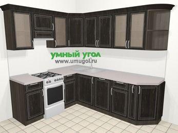 Угловая кухня МДФ патина в классическом стиле 6,6 м², 190 на 240 см, Венге, верхние модули 72 см, посудомоечная машина, отдельно стоящая плита