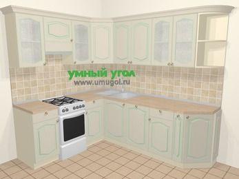 Угловая кухня МДФ патина в стиле прованс 6,6 м², 190 на 240 см, Керамик, верхние модули 72 см, посудомоечная машина, отдельно стоящая плита