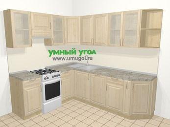 Угловая кухня из массива дерева в классическом стиле 6,6 м², 190 на 240 см, Светло-коричневые оттенки, верхние модули 72 см, посудомоечная машина, отдельно стоящая плита