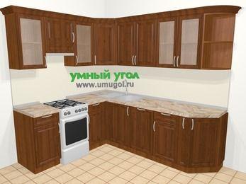 Угловая кухня из массива дерева в классическом стиле 6,6 м², 190 на 240 см, Темно-коричневые оттенки, верхние модули 72 см, посудомоечная машина, отдельно стоящая плита