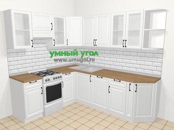 Угловая кухня из массива дерева в скандинавском стиле 6,6 м², 190 на 240 см, Белые оттенки, верхние модули 72 см, посудомоечная машина, отдельно стоящая плита