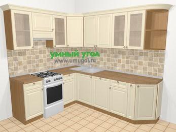 Угловая кухня из массива дерева в стиле кантри 6,6 м², 190 на 240 см, Бежевые оттенки, верхние модули 72 см, посудомоечная машина, отдельно стоящая плита