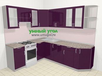 Угловая кухня МДФ глянец в современном стиле 6,6 м², 190 на 240 см, Баклажан, верхние модули 72 см, посудомоечная машина, отдельно стоящая плита