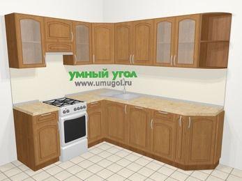Угловая кухня МДФ патина в классическом стиле 6,6 м², 190 на 240 см, Ольха, верхние модули 72 см, посудомоечная машина, отдельно стоящая плита