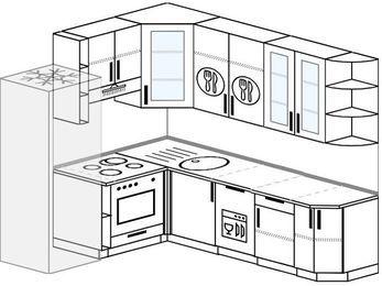 Угловая кухня 6,6 м² (1,9✕2,4 м), верхние модули 92 см, посудомоечная машина, встроенный духовой шкаф, холодильник