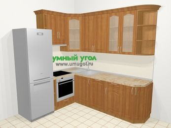 Угловая кухня МДФ матовый в классическом стиле 6,6 м², 190 на 240 см, Вишня, верхние модули 92 см, посудомоечная машина, встроенный духовой шкаф, холодильник