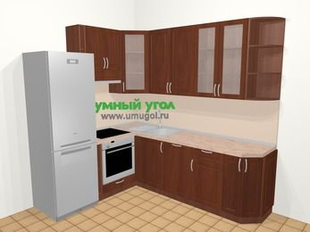 Угловая кухня МДФ матовый в классическом стиле 6,6 м², 190 на 240 см, Вишня темная, верхние модули 92 см, посудомоечная машина, встроенный духовой шкаф, холодильник