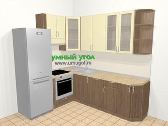 Угловая кухня МДФ матовый в современном стиле 6,6 м², 190 на 240 см, Ваниль / Лиственница бронзовая, верхние модули 92 см, посудомоечная машина, встроенный духовой шкаф, холодильник