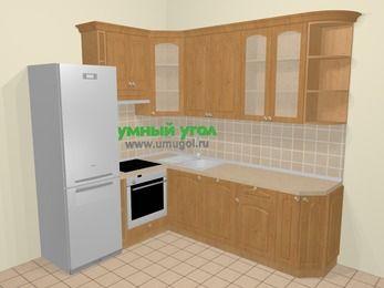 Угловая кухня МДФ матовый в стиле кантри 6,6 м², 190 на 240 см, Ольха, верхние модули 92 см, посудомоечная машина, встроенный духовой шкаф, холодильник