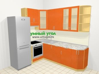 Угловая кухня МДФ металлик в современном стиле 6,6 м², 190 на 240 см, Оранжевый металлик, верхние модули 92 см, посудомоечная машина, встроенный духовой шкаф, холодильник