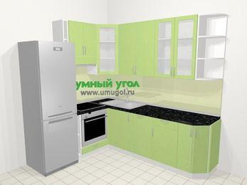 Угловая кухня МДФ металлик в современном стиле 6,6 м², 190 на 240 см, Салатовый металлик, верхние модули 92 см, посудомоечная машина, встроенный духовой шкаф, холодильник