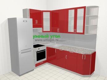 Угловая кухня МДФ глянец в современном стиле 6,6 м², 190 на 240 см, Красный, верхние модули 92 см, посудомоечная машина, встроенный духовой шкаф, холодильник