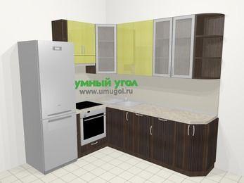 Кухни пластиковые угловые в современном стиле 6,6 м², 190 на 240 см, Желтый Галлион глянец / Дерево Мокка, верхние модули 92 см, посудомоечная машина, встроенный духовой шкаф, холодильник