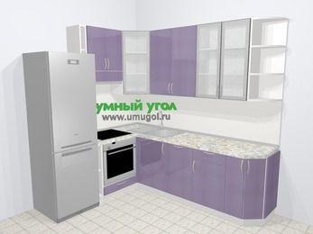 Кухни пластиковые угловые в современном стиле 6,6 м², 190 на 240 см, Сиреневый глянец, верхние модули 92 см, посудомоечная машина, встроенный духовой шкаф, холодильник