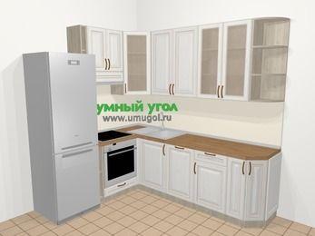 Угловая кухня МДФ патина в классическом стиле 6,6 м², 190 на 240 см, Лиственница белая, верхние модули 92 см, посудомоечная машина, встроенный духовой шкаф, холодильник