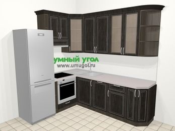 Угловая кухня МДФ патина в классическом стиле 6,6 м², 190 на 240 см, Венге, верхние модули 92 см, посудомоечная машина, встроенный духовой шкаф, холодильник