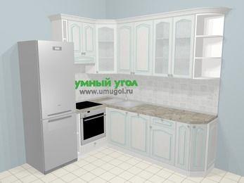 Угловая кухня МДФ патина в стиле прованс 6,6 м², 190 на 240 см, Лиственница белая, верхние модули 92 см, посудомоечная машина, встроенный духовой шкаф, холодильник