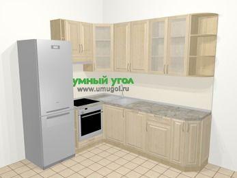 Угловая кухня из массива дерева в классическом стиле 6,6 м², 190 на 240 см, Светло-коричневые оттенки, верхние модули 92 см, посудомоечная машина, встроенный духовой шкаф, холодильник
