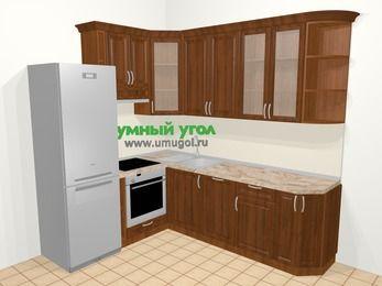 Угловая кухня из массива дерева в классическом стиле 6,6 м², 190 на 240 см, Темно-коричневые оттенки, верхние модули 92 см, посудомоечная машина, встроенный духовой шкаф, холодильник