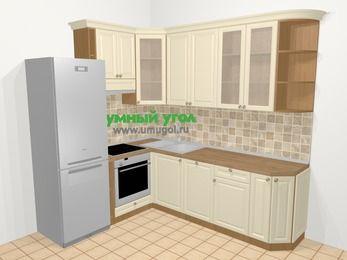Угловая кухня из массива дерева в стиле кантри 6,6 м², 190 на 240 см, Бежевые оттенки, верхние модули 92 см, посудомоечная машина, встроенный духовой шкаф, холодильник