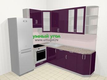 Угловая кухня МДФ глянец в современном стиле 6,6 м², 190 на 240 см, Баклажан, верхние модули 92 см, посудомоечная машина, встроенный духовой шкаф, холодильник