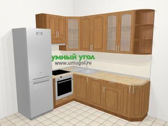 Угловая кухня МДФ патина в классическом стиле 6,6 м², 190 на 240 см, Ольха, верхние модули 92 см, посудомоечная машина, встроенный духовой шкаф, холодильник