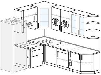 Угловая кухня 6,6 м² (1,9✕2,4 м), верхние модули 92 см, холодильник, отдельно стоящая плита