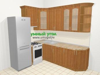 Угловая кухня МДФ матовый в классическом стиле 6,6 м², 190 на 240 см, Вишня, верхние модули 92 см, холодильник, отдельно стоящая плита